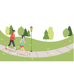 two girls running in park young women doing vector image