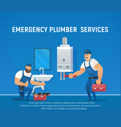 Two plumbers repair pipe and boiler maintenance vector