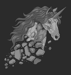 unicorn statue cracked and broke vector image