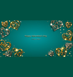 valentine card with shiny hearts vector image
