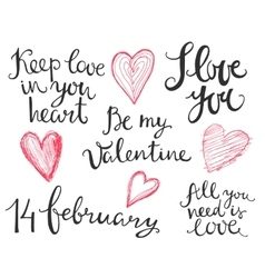 Valentines hand lettering vector image