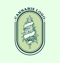 Vintage weed logo cannabis badge vector