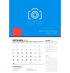wall calendar planner template for september 2019 vector image