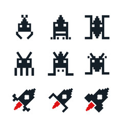 white background with icons space aliens and vector image vector image
