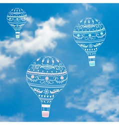with decorative hot air ballons in blue sky vector image