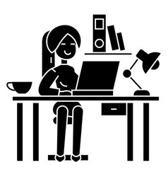 woman working on the office table - office vector image