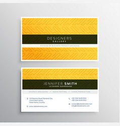 yellow business card with abstract pattern vector image