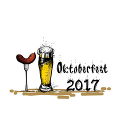 beer glass with sausage sketch oktoberfest vector image