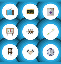 flat icon life set of clock whiteboard dental vector image vector image