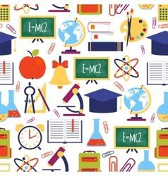 seamless pattern with colorful school icons vector image