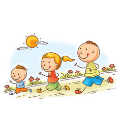 cartoon family jogging together vector image