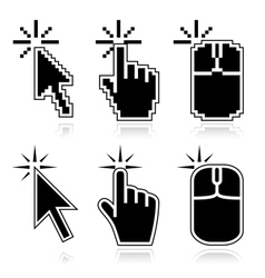Click here black mouse cursors vector image vector image