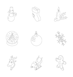New year holiday icons set outline style vector image