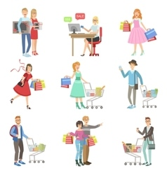 People Shopping For Clothes And Grocery vector image