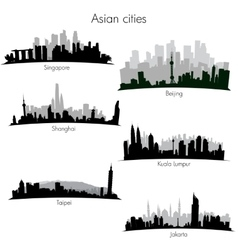 Asian cities skylines vector image vector image