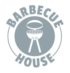 barbecue house logo simple gray style vector image