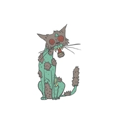 Cat Creepy Zombie Outlined Drawing vector image vector image