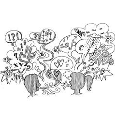 Couple dialogue sketchy doodles vector image vector image