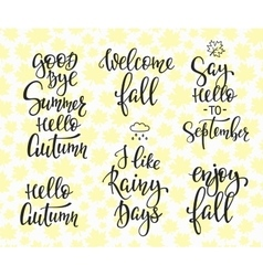 Hello Fall Autumn Rainy Days set vector image vector image