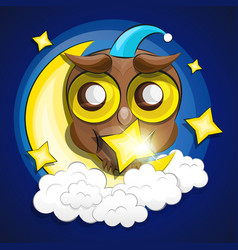 Moon and owl vector