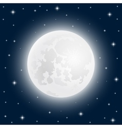 Moon close up at the sky with shining stars vector image