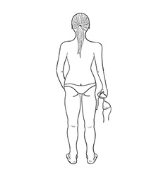 sketch of the girl in swimsuit vector image