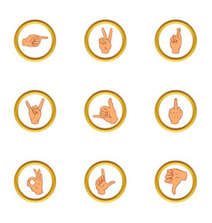 hand gesture for communication icons set vector image