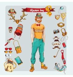 Hipster boy set vector image vector image