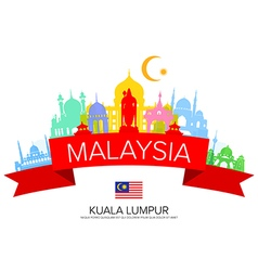 Malaysia Travel Landmarks and Flag vector image vector image