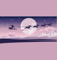 santa flying in his sled vector image