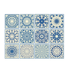 set of vintage ceramic tiles in azulejo design vector image