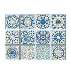 set of vintage ceramic tiles in azulejo design vector image vector image