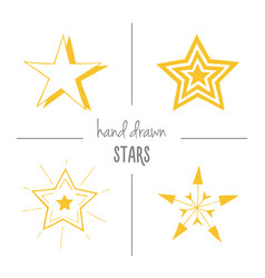 set of yellow hand drawn stars vector image
