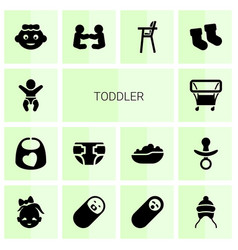 14 toddler icons vector