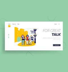 Annoying talk landing page template female vector