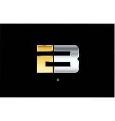 B silver gold letter alphabet logo icon design vector