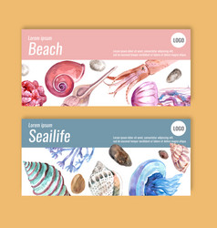 Banner design with sealife concept pastel themed vector
