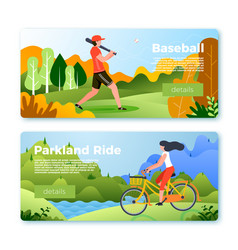 banners with baseball man and girl on bike vector image