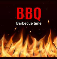 Barbecue grill grid in fire realistic vector