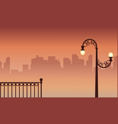 Beauty scenery with street lamp on city background vector
