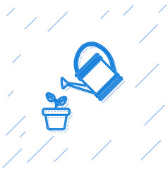 blue line watering can sprays water drops above vector image