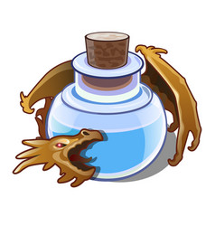 blue liquid in the vial is guarded by a dragon vector image