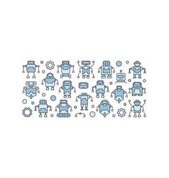 Blue robots concept on white vector
