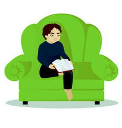 Boy read book on sofa vector