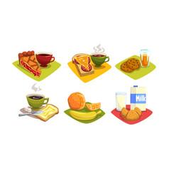 Breakfast dishes set morning food menu vector