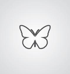 Butterfly outline symbol dark on white background vector
