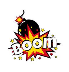 Cartoon comic boom bubbles labels with text vector