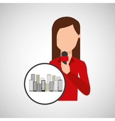 character woman reporter news broadcast graphic vector image