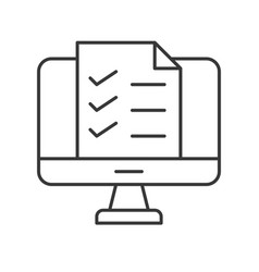 checklist document on computer desktop screen vector image