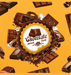 chocolate 3d label vector image